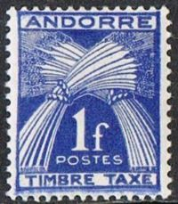 Andorra (French POs) SG FD144 1947 Postage Due 1f deep ultramarine mounted mint